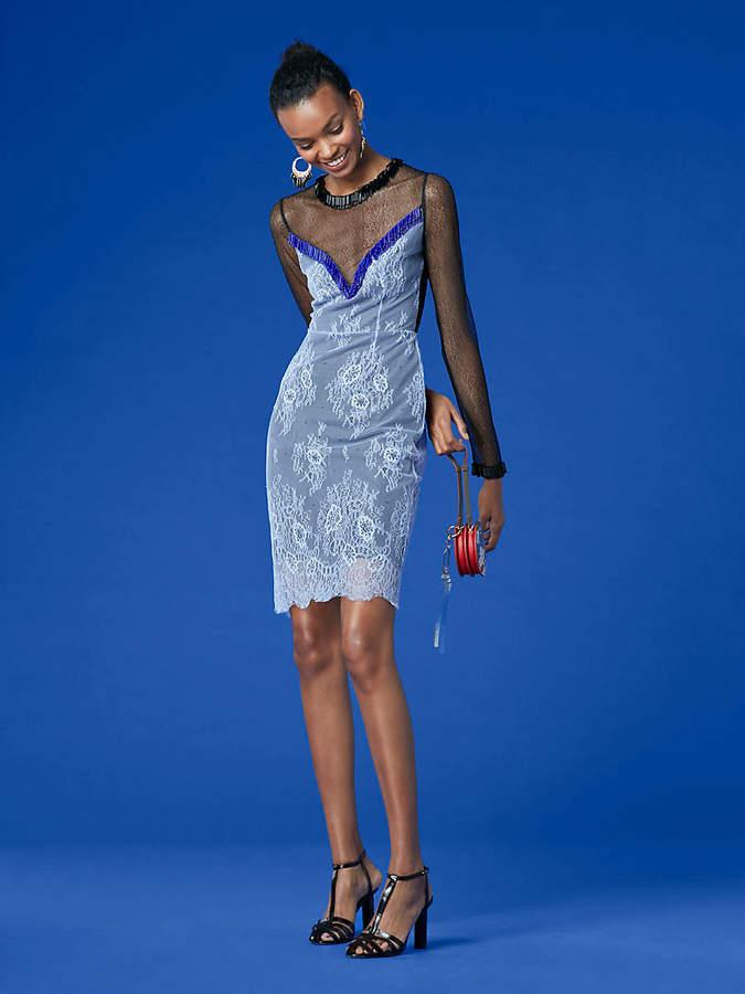 Diane von Furstenberg Short Beaded Overlay Lace Dress