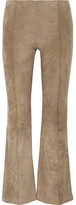 The Row Beca Cropped Stretch-suede Flared Pants - Sand
