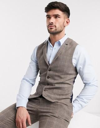ASOS DESIGN wedding skinny suit suit vest in brown wool blend windowpane check
