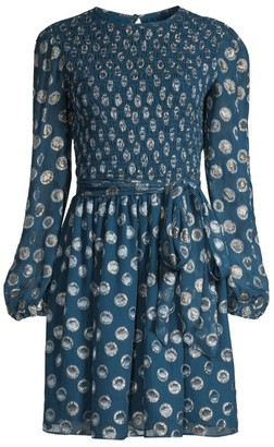Shoshanna Walker Smocked Grommet Print Balloon-Sleeve A-Line Dress