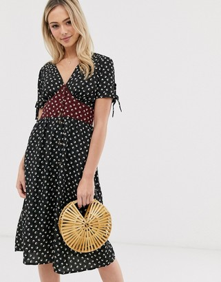 Brave Soul gracie midi dress with mixed floral panel-Black