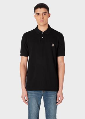 Paul Smith Men's Black Cotton-Pique Zebra Logo Polo Shirt
