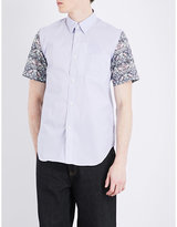 Junya Watanabe Patterned-sleeve Cotton-blend Shirt