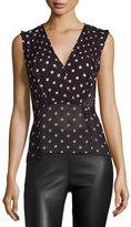 Veronica Beard Elle Polka-Dot Silk Chiffon Top, Black/Red/Cream