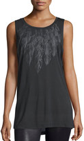 Haute Hippie Feather Graphic Muscle Tank, Black/Heather