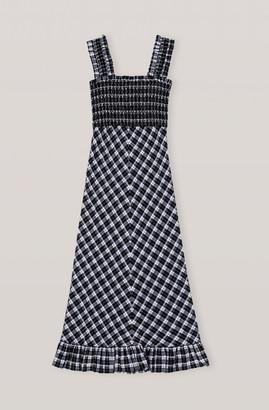 Ganni Seersucker Checks Maxi Dress - 36