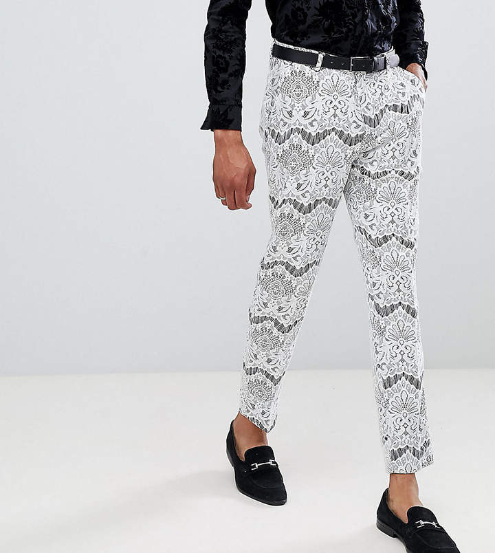 Asos Edition Tall Skinny Crop Tuxedo Suit Trousers In White Lace