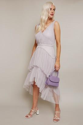 Little Mistress Sarah Grey Tiered Hi-Low Midi Dress
