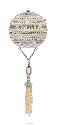 Judith Leiber 'Celestial Sphere' glass crystal faux pearl tassel clutch