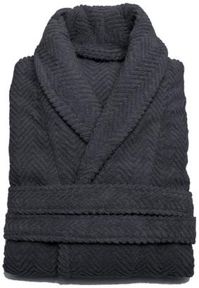 Linum Home Textiles Herringbone Weave Bathrobe, Gray, Large/X-Large