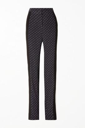 Stella McCartney Printed Silk Crepe De Chine Straight-leg Pants - Navy