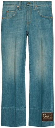 Gucci Marble stone-bleached denim flare pant