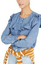 Madewell Women's Chambray Ruffle Yoke Top