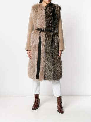 Blancha contrast colour belted coat