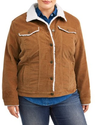 Time and Tru Women's Plus Size Corduroy Jacket with Shearling Collar