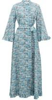 Evi Grintela Marigold Ruffled Floral-print Cotton Dress - Womens - Blue Print