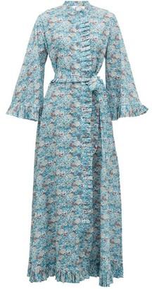 Evi Grintela Marigold Ruffled Floral-print Cotton Dress - Blue Print