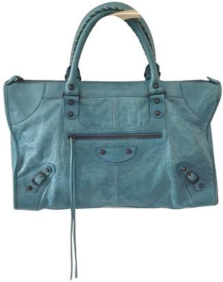 Balenciaga Weekender Turquoise Leather Handbags