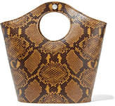Elizabeth and James Market Shopper Small Snake-effect Leather Tote - Brown