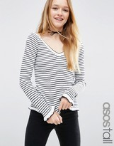 ASOS Tall ASOS TALL Sweater With Ruffle Hem In Stripe With Off Shoulder V Neck