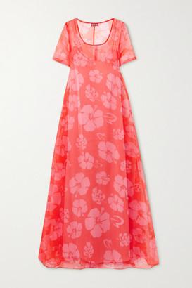 STAUD Floral-print Organza Maxi Dress - Red