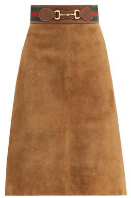 Gucci Web-stripe & Horsebit Suede Skirt - Brown