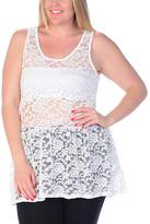 Celeste Off-White Sheer Lace Tank - Plus