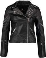 New Look STUDDED BIKER Faux leather jacket black