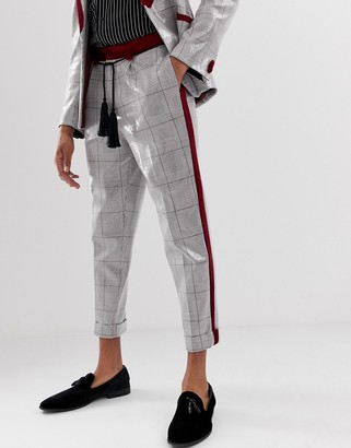 Asos Edition EDITION tapered suit trousers in grey sequin check with rope tassel belt-Brown