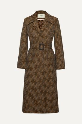 Fendi Belted Jacquard Coat - Brown