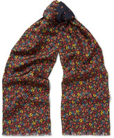 Paul Smith Double-faced Printed Silk And Wool-blend Scarf - Navy