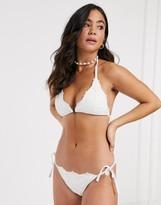 New Look soft cup triangle bikini top in white