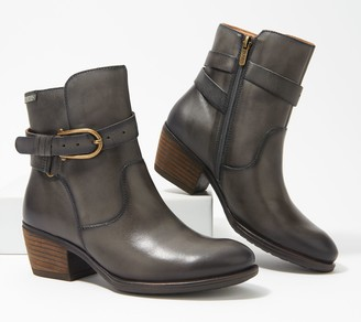 PIKOLINOS Leather Buckle Ankle Boots
