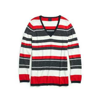 Tommy Hilfiger Women's Adaptive V Neck Sweater with Magnetic Buttons at Shoulders