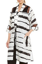 IC Collection Mesh Contrast Stripe Print Duster Jacket