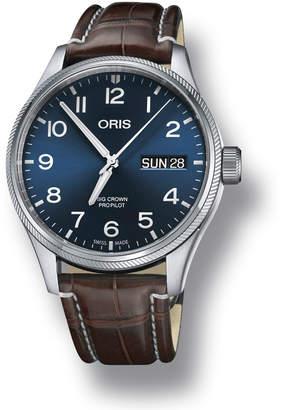 Oris Men's 45mm Big Crown Propilot Day-Date Watch, Blue/Brown
