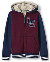 Lands' End Toddler Boys Varsity Sherpa Lined Hoodie-Burgundy