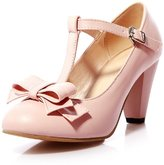 AO KAI E YU Women's Classy Mary Jane Fashion Sweet Round Toe T Strap Bows Womens Platform High Heel Pumps Shoes
