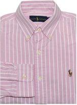 Polo Ralph Lauren Ralph Lauren Men Long Sleeve Oxford Striped Pony Logo Shirt (, Pink/White)