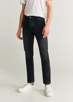 MANGO MAN - Slim fit faded dark wash Tim jeans black denim - 28 - Men