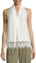 Max Studio Embroidered-Trim Sleeveless Blouse, White