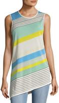 Diane von Furstenberg Women's Striped Asymmetrical Shell