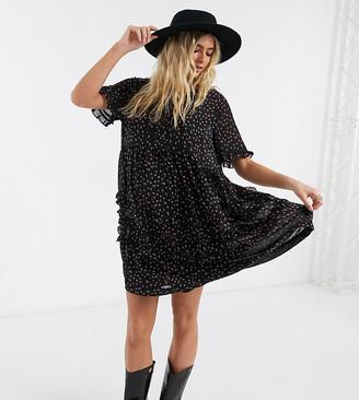 Topshop Maternity ditsy print mini dress in black