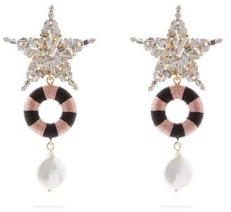 Maryjane Claverol - Romina Crystal-embellished Star Drop Earrings - Womens - Pink Multi