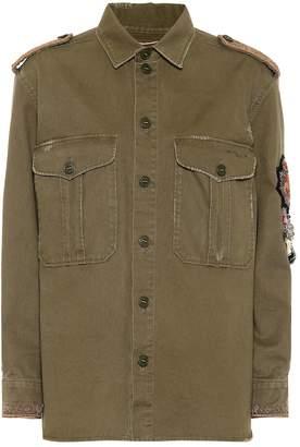 Saint Laurent Embroidered cotton-blend jacket