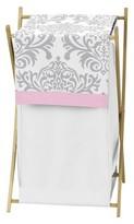 JoJo Designs Sweet Pink Gray Elizabeth Laundry Hamper- Pink-Gray-White