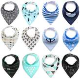BabyPrice Super Absorbent Cotton Adjustable Baby Bandana Drool Bibs with 2 Snaps Unisex Baby Gift 12 Piece
