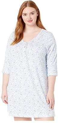 Carole Hochman Plus Size Soft Jersey 3/4 Sleeve Sleepshirt (Blue Birds) Women's Pajama