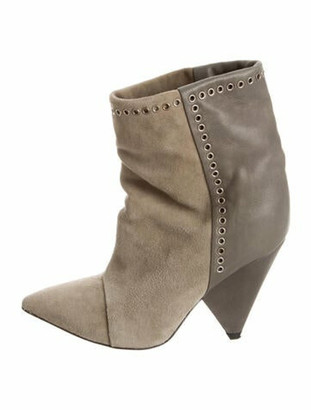 Isabel Marant Suede Studded Accents Boots Green