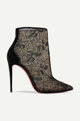 Christian Louboutin Psybootie 100 Suede-trimmed Embroidered Mesh Ankle Boots - Black